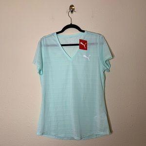Puma Blue V Neck Striped Short Sleeve T Shirt